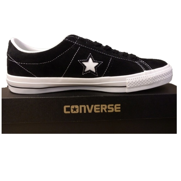ecd87da87cf Sz 10 Black Converse One Star Suede Leather Shoes